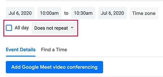 Setting Google Calendar Events to Repeat