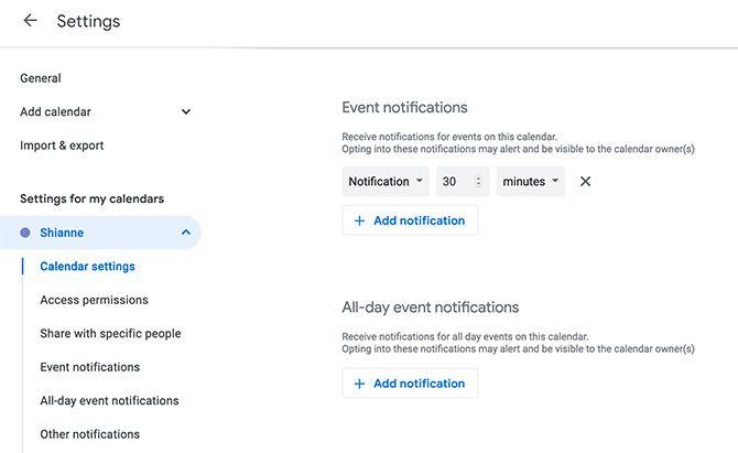Set Default Notifications in Google Calendar