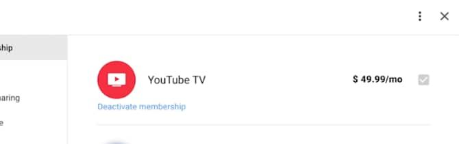 Deactivating YouTube TV on the web