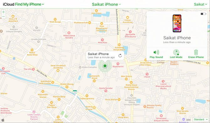 Erase iPhone option in Find My iPhone screen