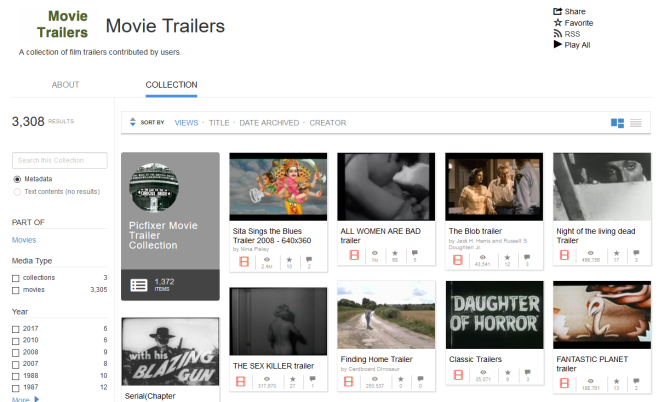 Internet Archive movie trailers