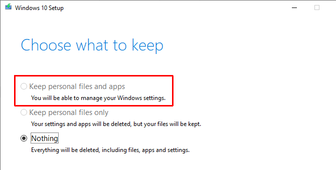 Keep the installation of your settings window