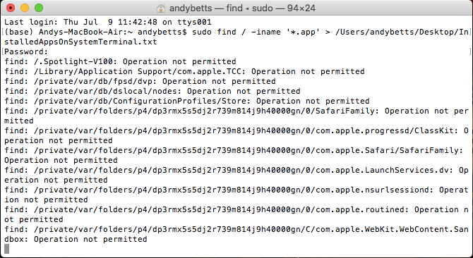 list all app files in terminal mac