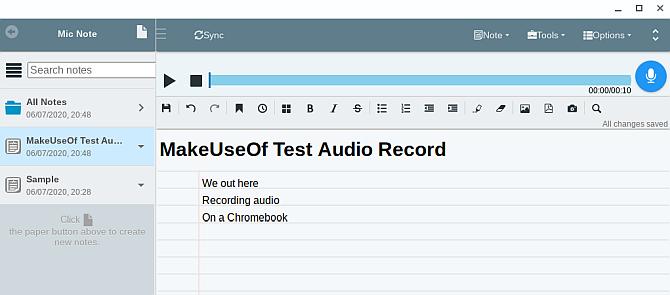 Microphone note Chromebook audio recording