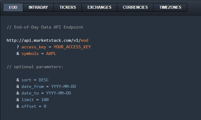 End of Day market API endpoint