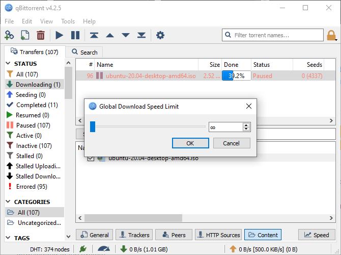 qbittorrent speed download limit options