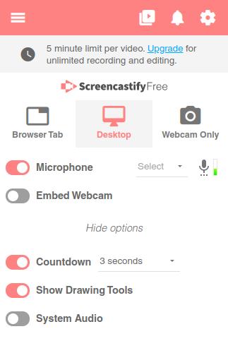 Screencastify Chromebook recording audio tool