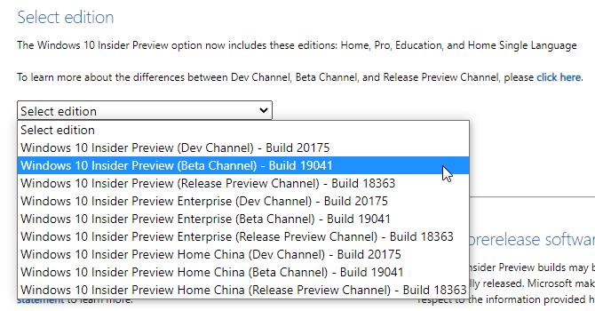 выберите версию Windows Insider iso