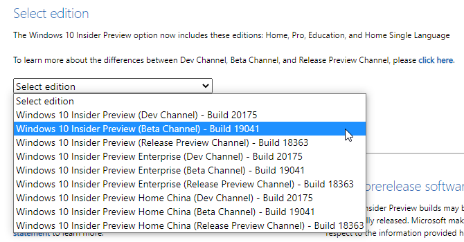 Choose Windows Insider ISO Version