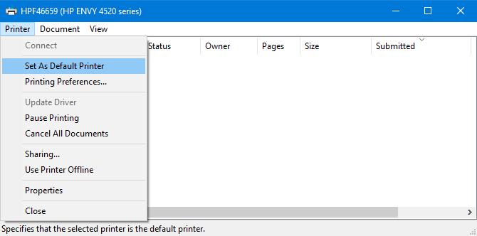 Set printer as default