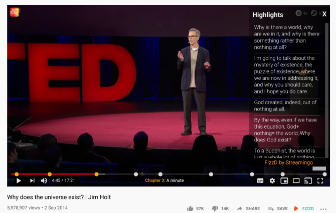 FizzD uses AI to analyze YouTube videos and turn them into chapters, highlights, and key concepts for easier browsing