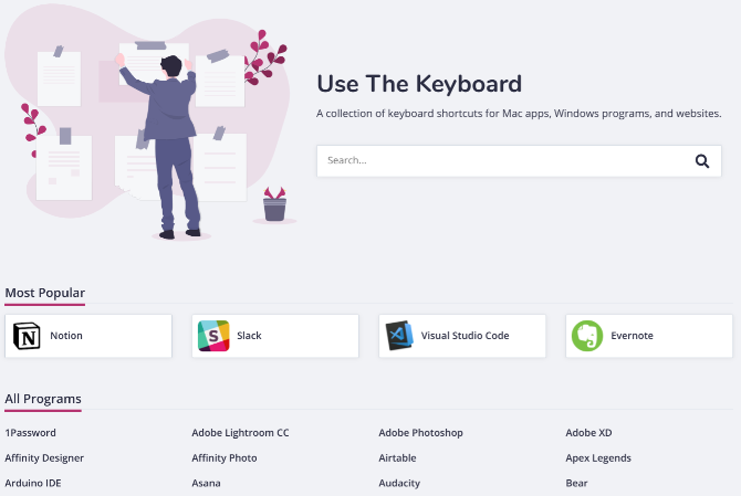 Use The Keyboard is a gorgeous collection of keyboard shortcuts for the most popular online and offline apps in 2020