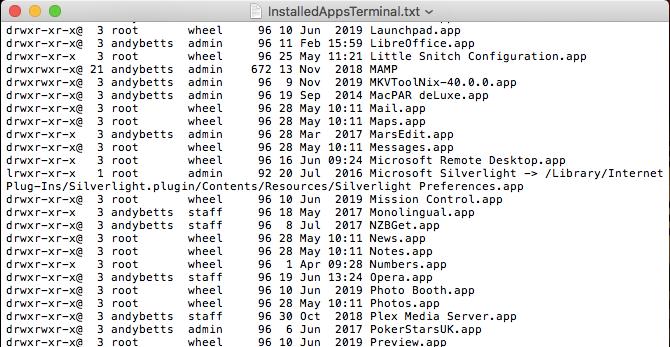 terminal apps list mac