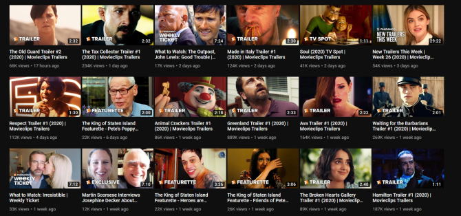 YouTube movie trailers