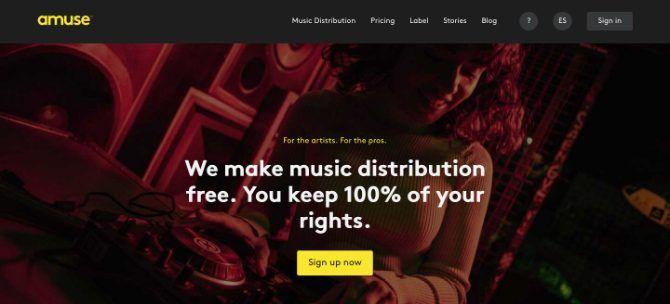 Header distribusi musik menghibur