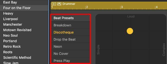 Mengalahkan Preset di Jendela Editor Drummer