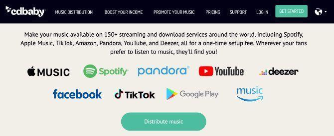 CD Baby menampilkan daftar layanan streaming musik