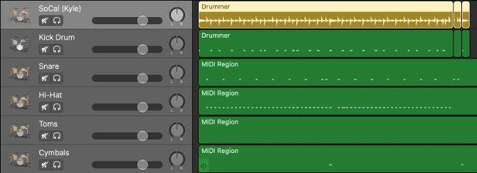 Wilayah drummer diubah menjadi drum MIDI terpisah