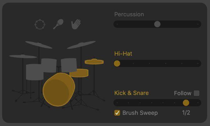 Variasi pola Kick & Snare menunjukkan paruh waktu dan opsi Sapuan Kuas