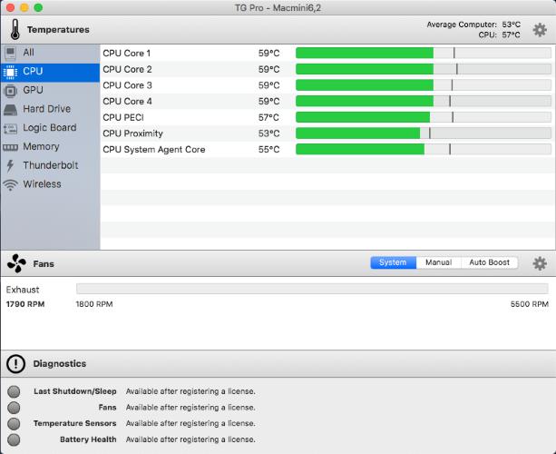 Aplikasi TG Pro untuk memantau dan mengontrol kecepatan kipas