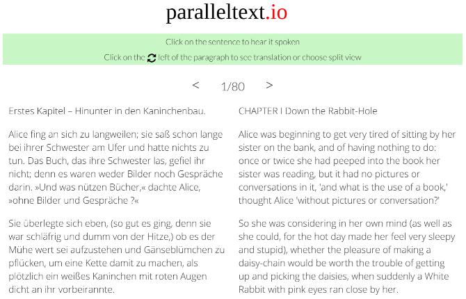 Parallel Text menampilkan novel klasik dalam dua bahasa secara berdampingan sehingga Anda dapat belajar membaca dalam bahasa baru