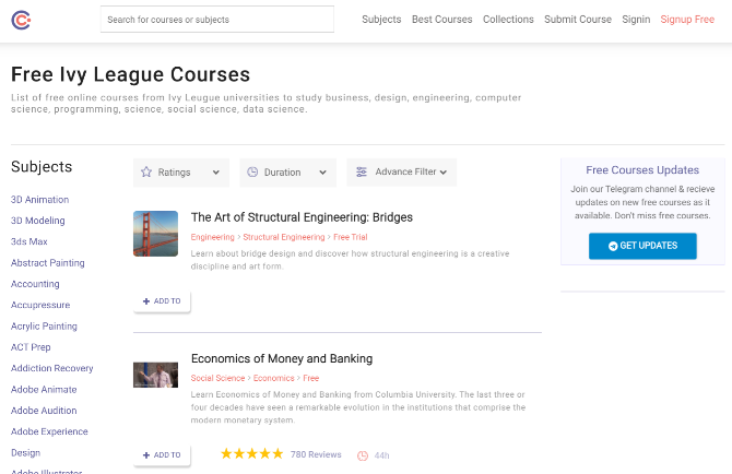 Halaman muka kursus dengan direktori kursus online