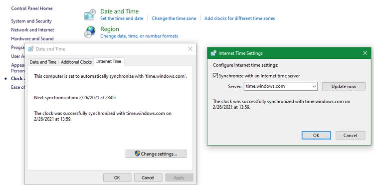 تنظیمات اشتباه زمان در ویندوز