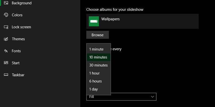 ویندوز 10 و تنظیمات نمایش اسلاید در پسزمینه