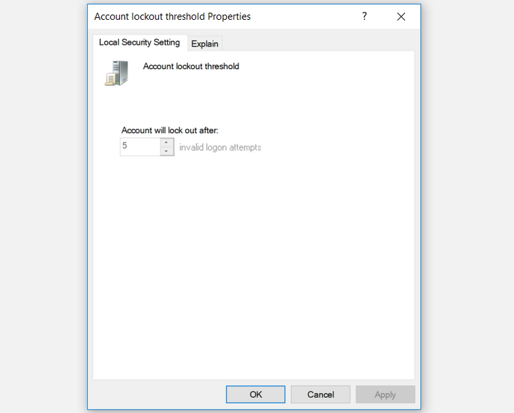 cấu hình Account lockout threshold - ngưỡng khóa tài khoản