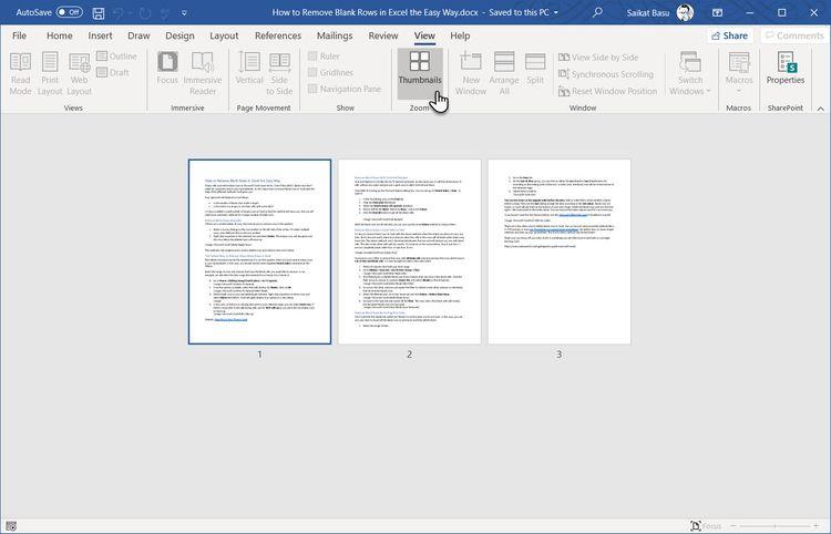 مایکروسافت ورد و نمایش کتابی صفحات